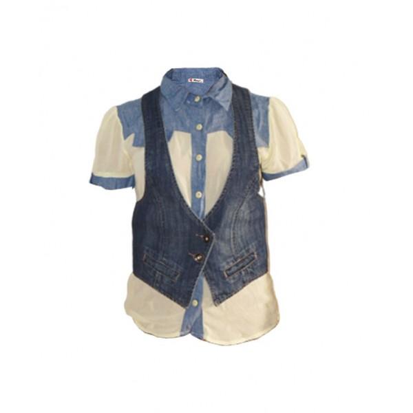 Size L, Ruuj chiffon top with spicy girl denim jacket