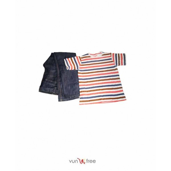 Size 12 - 13year, Male Striped Top with a Jean Trouser
