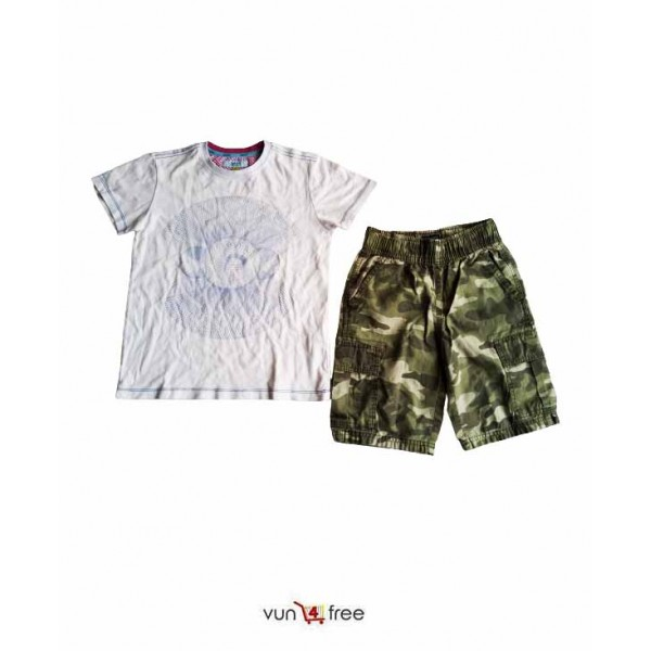 Size 7 - 9years, Male Polo with a Camo Shorts