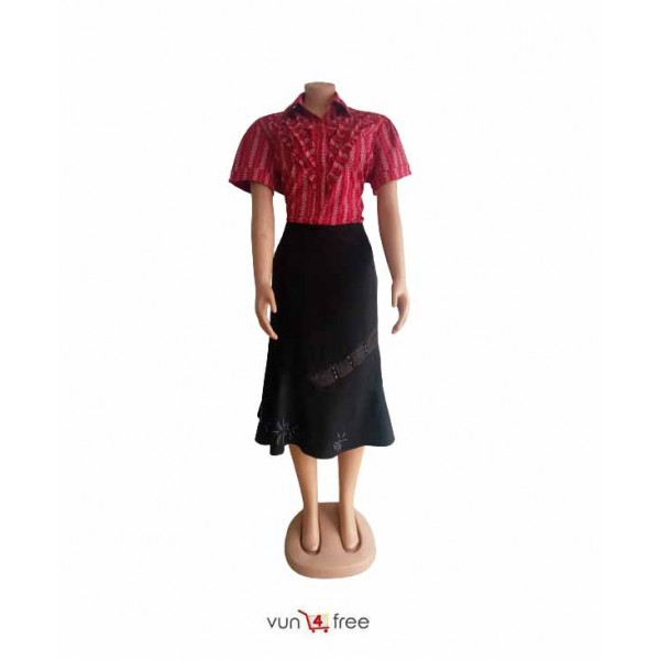 Size L, Short Sleeve Shirt with a Suit Skirt