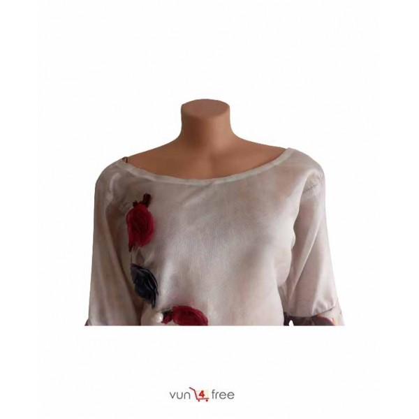 Size L, See-Through Flower Too with a Jean Trouser
