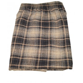 Size XXL, Brown Textured Checked Straight Skirt
