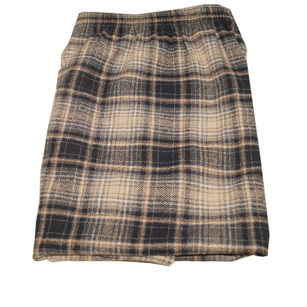 Size XXL, Brown Textured Checked Straight Skirt