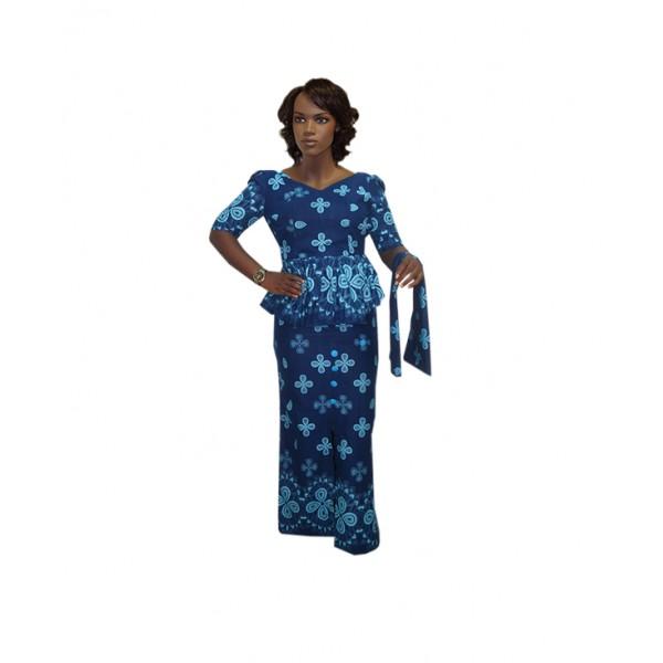 Size XL, Blue Ankara Skirt & Blouse Outfit