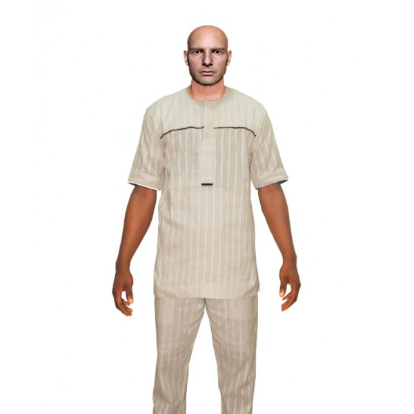 Size XL, Men's Smart White Lace Outfit  2