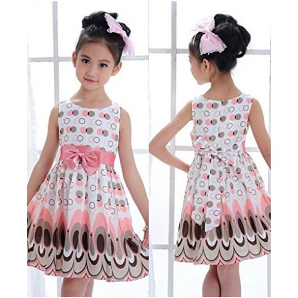 (3-4years) Kids Girls Belt Sleeveless Bubble Peacock Party Dress