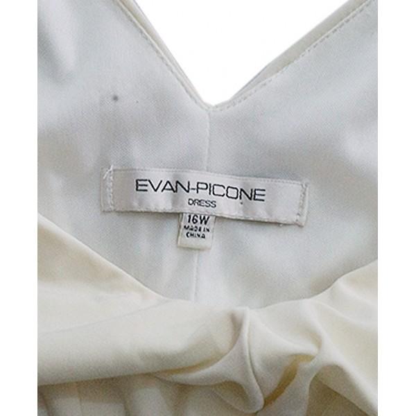 Size 16W; Evan-Picone White Sleeveless Gown