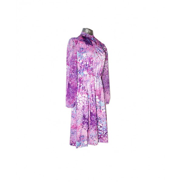 Size: M, Flower Printed Silk Gown