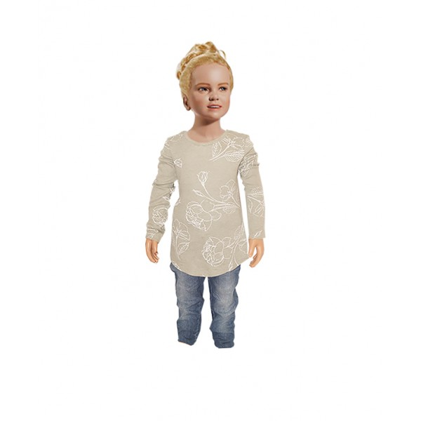 (3-4 years) Girl's Classic T-shirt with Jean Trouser