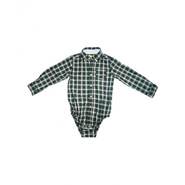 Boys Green check pin up shirt